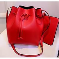 Women PU Barrel Shoulder Bag - Red / Black