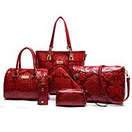 Női táska szettek PU Minden évszak Bevásárlás Hétköznapi Előírásos Csőtáska Cipzár Bézs Piros Kék