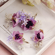 Bride's Flower Shape Crystal Forehead Wedding Accessories  Hair Pin 1 Set