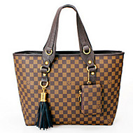 Women PU Shopper Tote - White / Brown