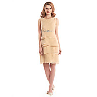Lanting Sheath/Column Mother of the Bride Dress - Champagne Knee-length Sleeveless Chiffon