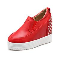 Women's Spring / Fall Round Toe Leatherette Office & Career / Dress Wedge Heel Sparkling Glitter Black / Red / White