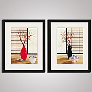 Framed Modern Canvas Art  Simple Flower and the Branches for Diningroom Decoration Set of 2 Ready To Hang
