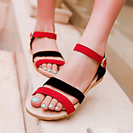 Women's Shoes Suede Wedge Heel Wedges / Peep Toe Sandals Outdoor / Dress / Casual Black / Purple / Black and Red