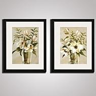 Abstraktní / Květiny a rostliny / Klidný život / Volný čas Tisky v rámu / Kanvas v rámu / Set v rámu Wall Art,PVC Černá Včetně paspartys