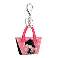 2016 Anime Key Chains Cartoon Lovely Girl Printing Jewelry Handbag Car Keychain Women Holder Key Ring Wholesale