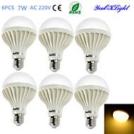 7W E26/E27 Lâmpada Redonda LED B 12 SMD 5630 550 lm Branco Quente Decorativa AC 220-240 V 6 pçs