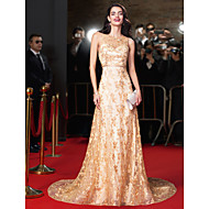 TS Couture® Formal Evening Dress-Gold A-line Jewel Chapel Train Lace