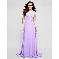 Formal Evening Dress - Lavender Plus Sizes / Petite A-line V-neck Sweep/Brush Train Chiffon