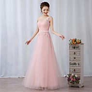 Cocktail Party / Formal Evening Dress - Blushing Pink A-line One Shoulder Floor-length Lace / Tulle