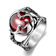 Art und Weise großzügig einzelne Herren-rot Zirkonia Einbrennlack Edelstahlring (schwarz) (1pc)