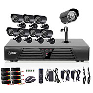 liview® fullt 960h 8ch DVR och utomhus 800tvline dag / natt kamerasystem
