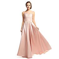 저녁 정장파티 드레스 - 펄 핑크 A라인 바닥 길이 스쿱 태피터 / 명주그물