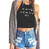 Women Crop Top Letter Print Sleeveless Backless Halter Tank Top Vest T-Shirt