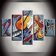 Hånd-malede Abstrakt / Landskab / Fantasi / Abstrakt LandskabModerne Fem Paneler Canvas Hang-Painted Oliemaleri For Hjem Dekoration