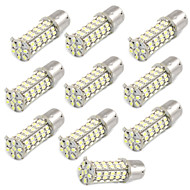 10 piezas de automóviles 1156 1206 BA15S 68-SMD LED de la cola de copia de seguridad del freno bombillas de luz blanca