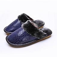 Women's Winter Patent Leather Casual Flat Heel Blue