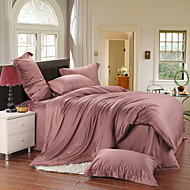 Light brown 100% Tencel Soft Bedding Sets Queen King Size Solid color Duvet Cover Set