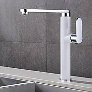 Contemporary Deck Mounted Rotatable with  Ceramic Valve Single Handle One Hole for  Chrome , Bathroom Sink Faucet