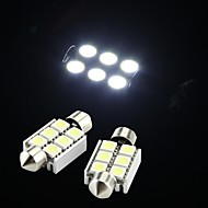 White 6 SMD LED Festoon Interior Dome Bulb Light 36mm (2 Pcs)