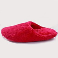 Women's Winter Round Toe / Slippers Fur Casual Flat Heel Blue / Red