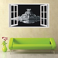 Star War Aircraft 3D Fake Window Space Spaceship Room Wall Stickers Decorative Removable Waterproof Wallpaper