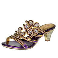 Women's Shoes Leather Chunky Heel Heels Sandals Party & Evening / Dress / Casual Purple / Gold