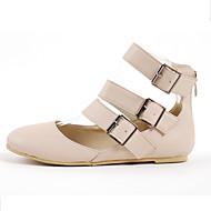 Women's Spring / Summer / Fall / Winter Novelty / Fashion Boots Leatherette Casual / Dress Flat Heel Buckle / Zipper / Hollow-out Beige