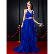 TS Couture® Formal Evening Dress-Royal Blue A-line Spaghetti Straps Court Train Organza