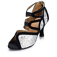Sapatos de Dança ( Prateado ) - Feminino - Personalizável - Latina / Jazz / Salsa / Samba / Sapatos de Swing