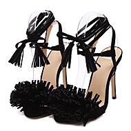 Women's Shoes Fleece Stiletto Heel  Open Toe Sandals Dress Black / Red / Almond