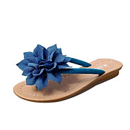 Women's Summer Slippers Leatherette Casual Low Heel Flower Black / Blue / Red / White