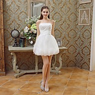 Cocktail Party Dress - Ivory A-line Strapless Short/Mini Lace