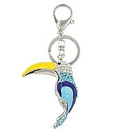 Fashion Cute Rhinestone Set Enamel Woodpecker Metal Key Ring/Handbag Accessory