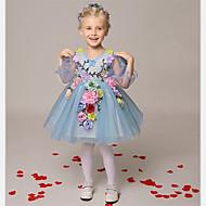 A-line Short / Mini Flower Girl Dress - Organza Long Sleeve V-neck with