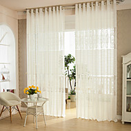 Two Panels Modern White Living Room Polyester Sheer Curtains Shades