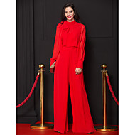 TS Couture Formal Evening Dress - Ruby Sheath/Column High Neck Floor-length Chiffon