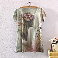 Ronde hals - Katoen - Bloem - Vrouwen - T-shirt - Korte mouw