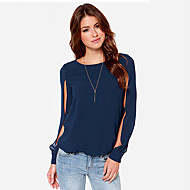 Women's Casual/Daily / Plus Size Sexy All Seasons Blouse,Solid Round Neck Long Sleeve Blue / Pink Polyester Thin