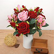 High Quality 1 Pieces Roses Flowers Silk Flower Artificial Flowers for Wedding home Decoration Flower Kit (Red)