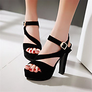 Women's Summer Heels / Platform Velvet Office & Career / Dress / Casual Chunky Heel Buckle Black / Red / Almond