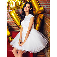 TS Couture® Cocktail Party Dress - White Ball Gown Jewel Short/Mini Tulle