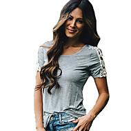 De las mujeres Bloques Camiseta-Escote Redondo-Algodón / Rayón-Manga Corta