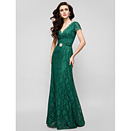 TS Couture® Formal Evening / Military Ball Dress - Dark Green Plus Sizes / Petite A-line V-neck Floor-length Lace