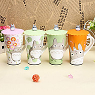 6 inch Japanese Cartoon Totoro Cup Ceramic Mug with Lid (Random Color)