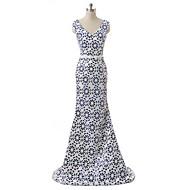 Formal Evening Dress - Multi-color A-line V-neck Sweep/Brush Train Satin