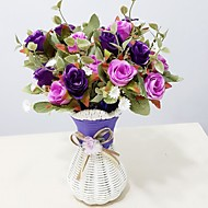 Plastic Roses Artificial Flowers with Vase