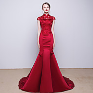 Cocktail Party / Formal Evening Dress - Burgundy Trumpet/Mermaid High Neck Chapel Train Satin