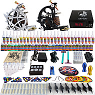 solong tattoo® komplett tatovering kit 2 pro maskiner 54 blekk strømforsyning fot pedal nåler grep tips tk230