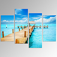 VISUAL STAR® Sunny Blue Seascape with A Wooden Bridge Picture Print on Canvas Artwork Ready to Hang